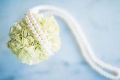bridal bouquet with pearls - wedding, holiday and floral garden styled concept stock photography