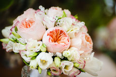 Bridal Bouquet with Peony Roses decorated by beads Royalty Free Stock Photo