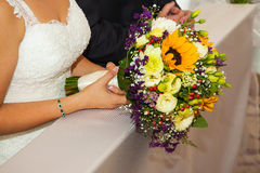 Bridal bouquet. Photo taken in the church Royalty Free Stock Image
