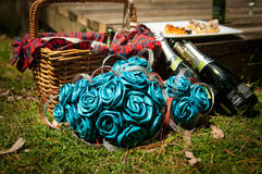 Bridal bouquet at a picnic setting Royalty Free Stock Images