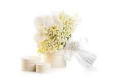 Bridal bouquet with present boxes Stock Images