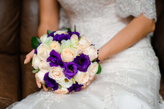 Bridal Bouquet with purple Roses Royalty Free Stock Photos