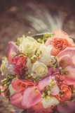 Bridal bouquet with red and burgundy flowers Royalty Free Stock Photos