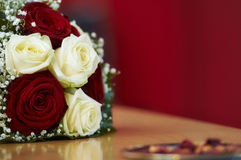 Bridal bouquet. With red an white roses stock photos