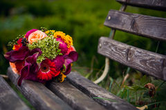 Bridal bouquet. Of retro style on bench Royalty Free Stock Photos
