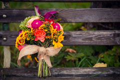 Bridal bouquet. Of retro style on bench Stock Photography