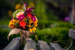 Bridal bouquet. Of retro style on bench Royalty Free Stock Photo