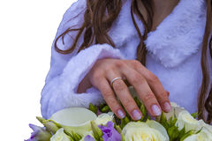 Bridal bouquet with ring Stock Images
