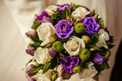 Bridal bouquet with rings Royalty Free Stock Photos