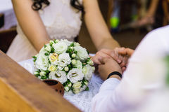 Bridal bouquet with rings Royalty Free Stock Images