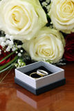 Bridal bouquet and rings Stock Image