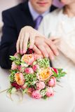 Bridal bouquet of roses, buttercups and other flowers Royalty Free Stock Image