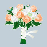 Bridal bouquet of roses  on gray background Royalty Free Stock Image