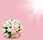Bridal bouquet of roses on pink background, star in corner Royalty Free Stock Photography