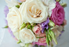 A bouquet of the bride and rings Royalty Free Stock Image