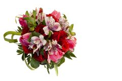 Bridal bouquet of roses, tulips and alstroemeria on white background stock photography