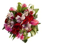 Bridal bouquet of roses, tulips and alstroemeria on white background royalty free stock photo