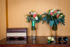 Bridal bouquet of roses on a  wooden planks Royalty Free Stock Photo