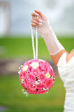 Bridal bouquet round shape of pink roses Royalty Free Stock Photography