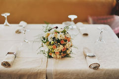 Bridal bouquet on a table Royalty Free Stock Photo
