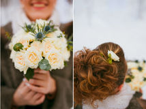 Bridal bouquet. Set bridal bouquet in hand. Winter Stock Photography