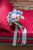 Bridal bouquet on a sofa Royalty Free Stock Image