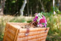 Bridal bouquet on a suitcase Royalty Free Stock Photography