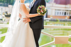 Bridal bouquet of various flowers Stock Photo