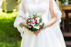 Bridal bouquet of various flowers Stock Image