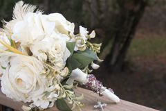 Bridal Bouquet w Feathers Stock Photos