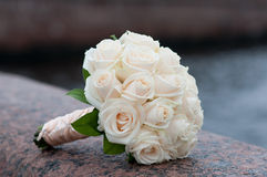 Bridal bouquet on the waterfront Royalty Free Stock Images