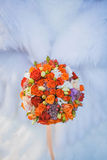 Bridal bouquet on the weddind dress Royalty Free Stock Photo