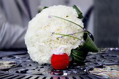 Bridal bouquet. Wedding bouquet of the bride rings Stock Image