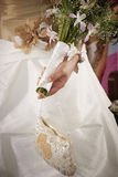 Bridal bouquet on the wedding ceremony Stock Photos