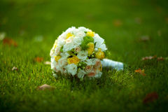 Bridal bouquet on wedding day Stock Images