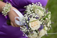 Bridal bouquet on wedding day Royalty Free Stock Image