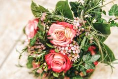Bridal Bouquet with Wedding Rings Royalty Free Stock Image