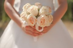 Bridal bouquet. Wedding bridal bouquet of roses in beige color Stock Image