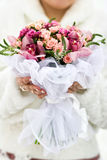 Bridal bouquet. Wedding in the winter cold day Stock Photography