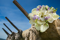 Bridal bouquet with white callas Stock Photos