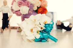 Bridal bouquet from white orchids Stock Image