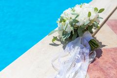 Bridal bouquet of white peonies Royalty Free Stock Image