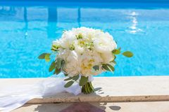 Bridal bouquet of white peonies Royalty Free Stock Photo