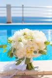Bridal bouquet of white peonies Stock Photos