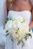 Bridal bouquet of white peonies Royalty Free Stock Photos