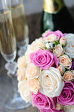 Bridal bouquet of white and pink roses Royalty Free Stock Photography
