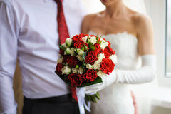 Bridal bouquet of white and red roses Stock Photo