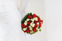 Bridal bouquet of white and red roses Stock Photography