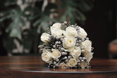 Bridal bouquet of white roses.  Stock Images