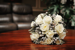 Bridal bouquet of white roses.  Stock Image